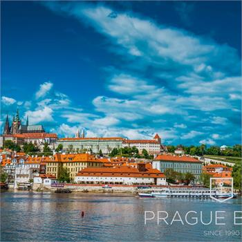 The Cecília boat with the beautiful panorama of Prague