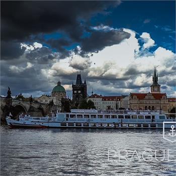 Evening in the center of Prague on  the Cecílie Boat