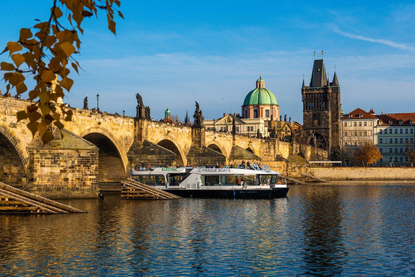 The Bella Bohemia Boat by the Charles Bridge