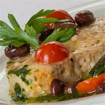Swordfish steak with cherry tomatoes