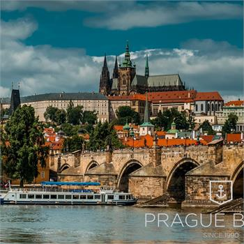 Panorama of Prague Castle from the cruise