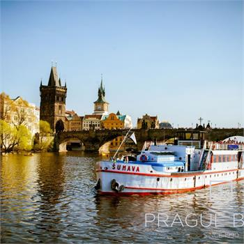 Charles Bridge during lunch on board