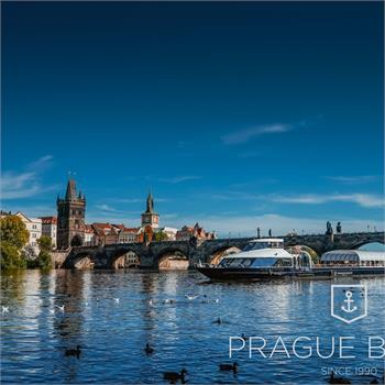 View of Charles Bridge from a boat