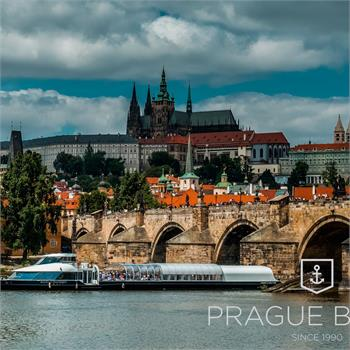 Boat Bohemia Rhapsody sails through the centre of Prague