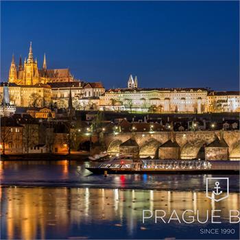 Bohemia Rhapsody boat cruising by night Prague