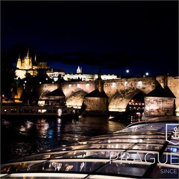 Night Prague from the deck of Bohemia Rhapsody boat