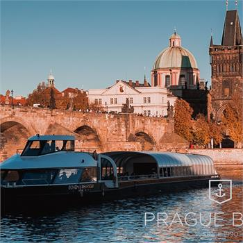 Bohemia Rhapsody boat by the Charles Bridge