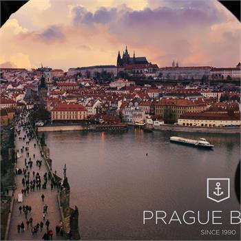 Panorama of Prague with the boat Grand Bohemia