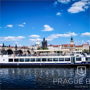 Labe boat departs from a dock at Kampa