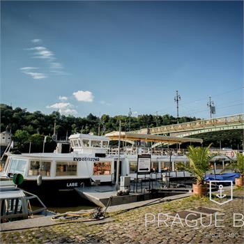 Labe boat at the dock near Čech Bridge