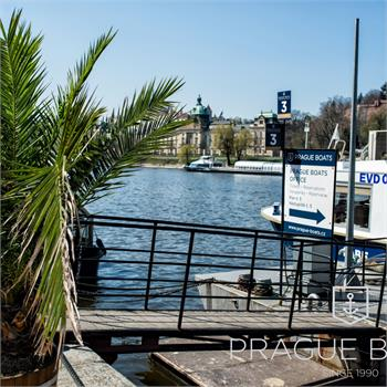 Labe boat at the pier on the Vltava River