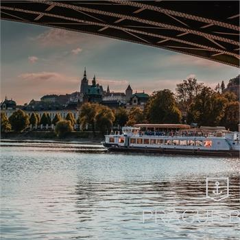 Labe boat at a sightseeing cruise through Prague