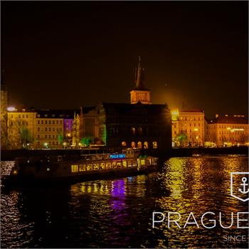 Labe boat during cruise Prague by night