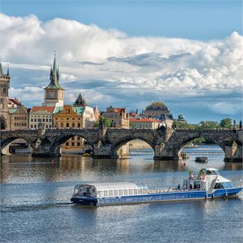 Grand Bohemia boat at Charles Bridge