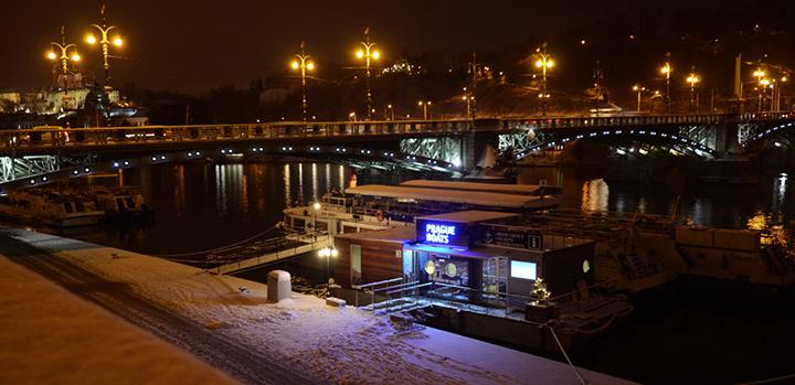 First snow on the Vltava